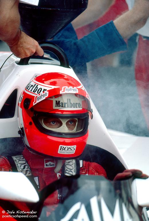 smoke  mclaren and niki lauda  u2013 austrian gp 1985